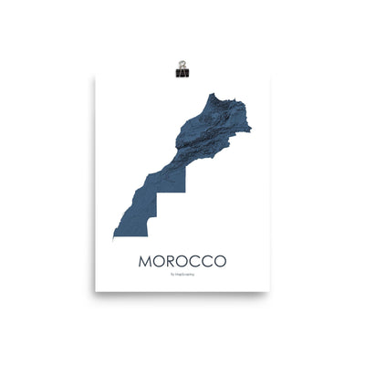 "Morocco Poster 3D Midnight Blue-8""x10"" - 20.32cm x 25.4cm-topographic wall art map by MapScaping"