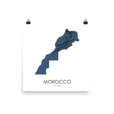 "Morocco Poster 3D Midnight Blue-10""x10"" - 25.4cm x 25.4cm-topographic wall art map by MapScaping"