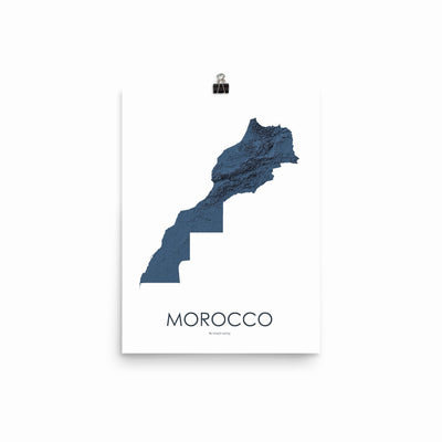 "Morocco Poster 3D Midnight Blue-12""x16"" -30.48cm x 40.64cm-topographic wall art map by MapScaping"