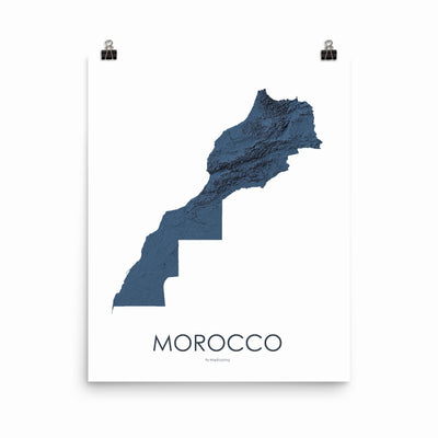 "Morocco Poster 3D Midnight Blue-16""×20"" - 40.64cm x 50.8cm-topographic wall art map by MapScaping"