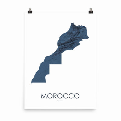 "Morocco Poster 3D Midnight Blue-18""×24"" - 45.72cm x 60.96cm-topographic wall art map by MapScaping"