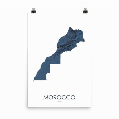 "Morocco Poster 3D Midnight Blue-24""×36"" - 60.96cm x 91.44cm-topographic wall art map by MapScaping"