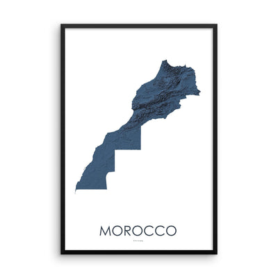 Morocco Poster 3D Midnight Blue-topographic wall art map by MapScaping