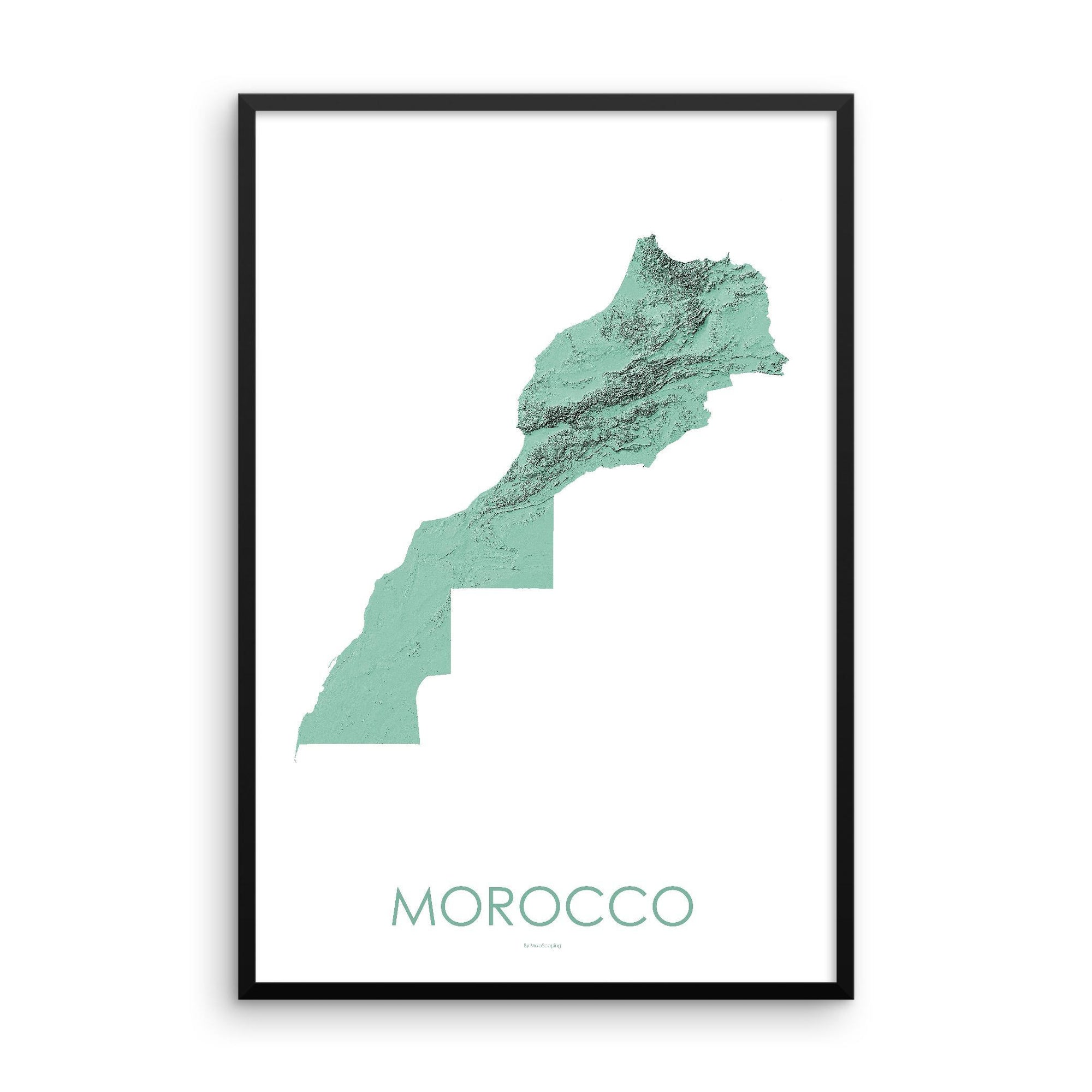 Morocco Poster 3D Mint-topographic wall art map by MapScaping