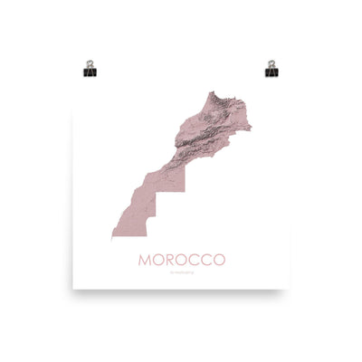 "Morocco Poster 3D Rose-10""x10"" - 25.4cm x 25.4cm-topographic wall art map by MapScaping"