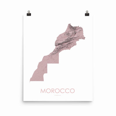 "Morocco Poster 3D Rose-16""×20"" - 40.64cm x 50.8cm-topographic wall art map by MapScaping"