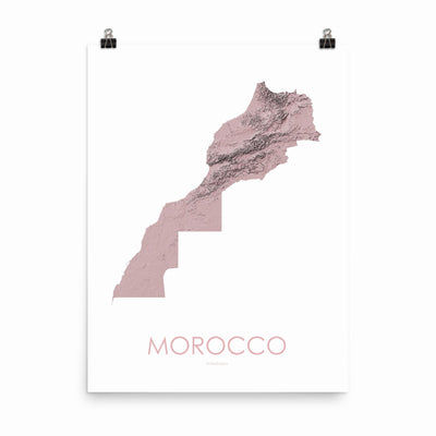 "Morocco Poster 3D Rose-18""×24"" - 45.72cm x 60.96cm-topographic wall art map by MapScaping"
