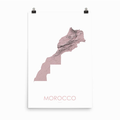 "Morocco Poster 3D Rose-24""×36"" - 60.96cm x 91.44cm-topographic wall art map by MapScaping"