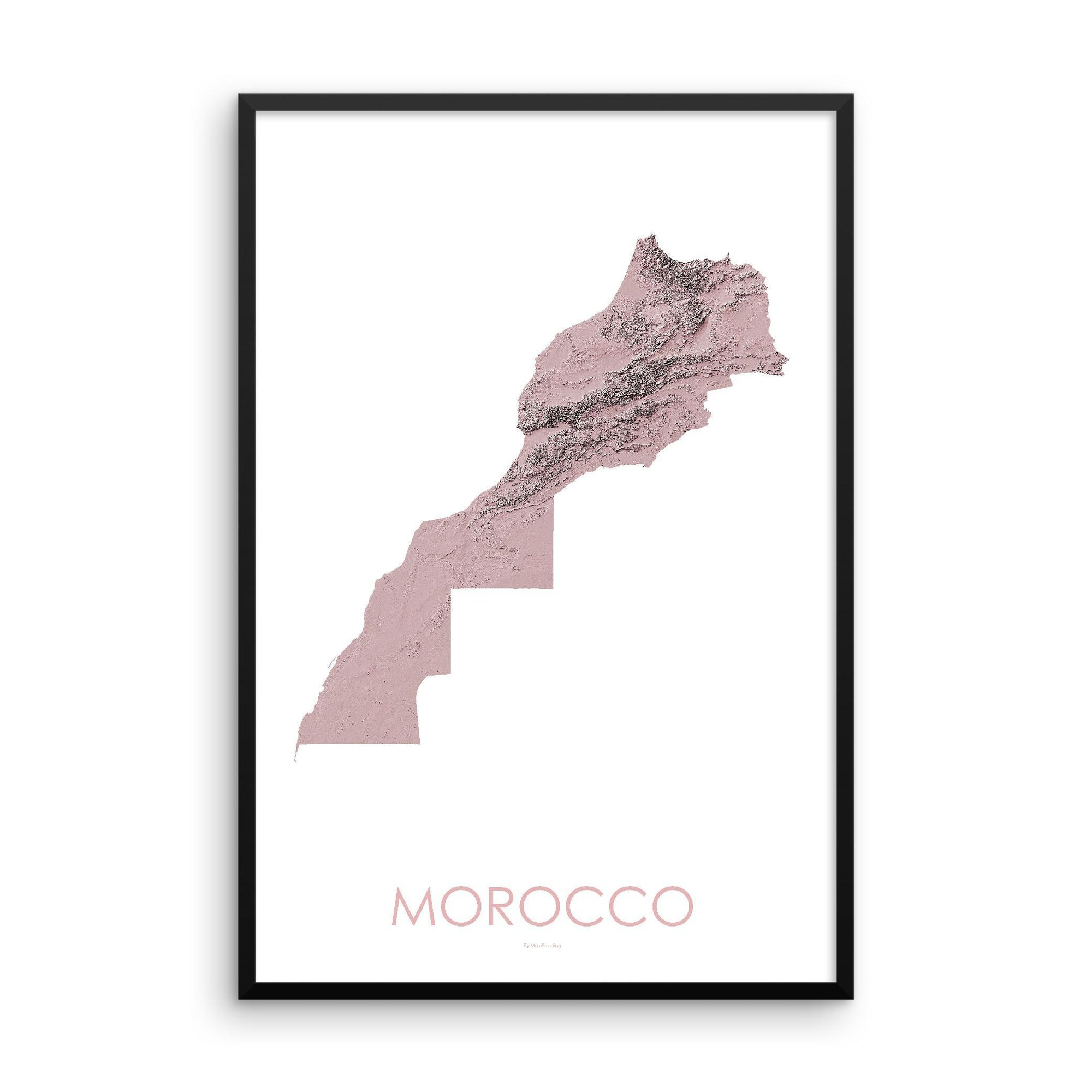 Morocco Poster 3D Rose-topographic wall art map by MapScaping