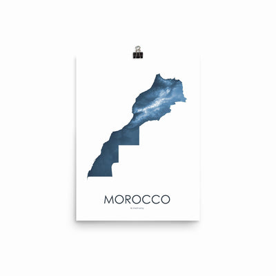 "Morocco Poster Midnight Blue-12""x16"" -30.48cm x 40.64cm-topographic wall art map by MapScaping"