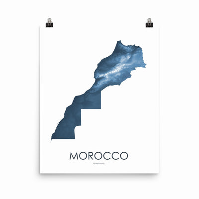 "Morocco Poster Midnight Blue-16""×20"" - 40.64cm x 50.8cm-topographic wall art map by MapScaping"