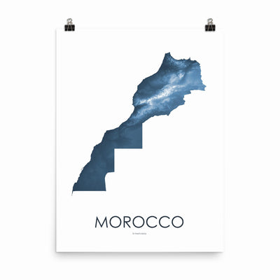 "Morocco Poster Midnight Blue-18""×24"" - 45.72cm x 60.96cm-topographic wall art map by MapScaping"