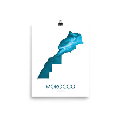 "Morocco Poster Petroleum Blue-8""x10"" - 20.32cm x 25.4cm-topographic wall art map by MapScaping"