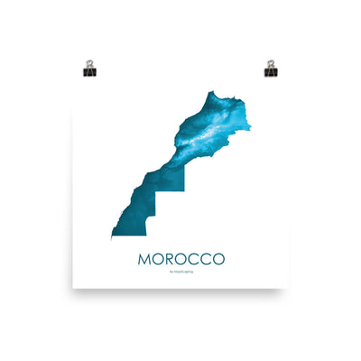 "Morocco Poster Petroleum Blue-10""x10"" - 25.4cm x 25.4cm-topographic wall art map by MapScaping"