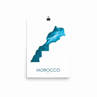 "Morocco Poster Petroleum Blue-12""x16"" -30.48cm x 40.64cm-topographic wall art map by MapScaping"