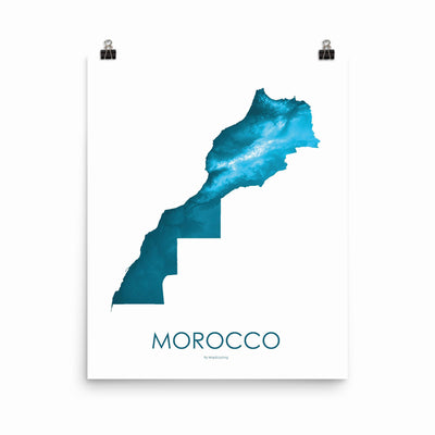 "Morocco Poster Petroleum Blue-16""×20"" - 40.64cm x 50.8cm-topographic wall art map by MapScaping"