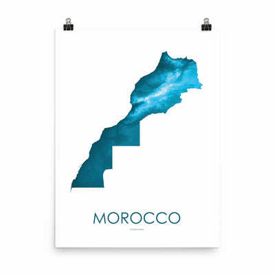 "Morocco Poster Petroleum Blue-18""×24"" - 45.72cm x 60.96cm-topographic wall art map by MapScaping"