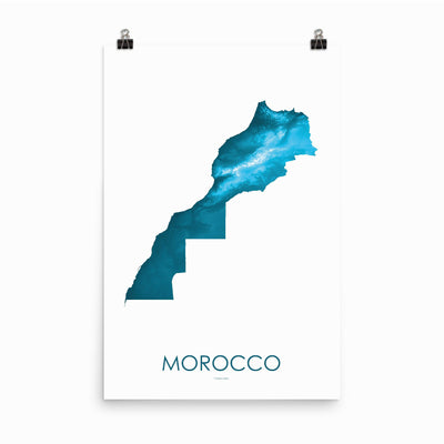 "Morocco Poster Petroleum Blue-24""×36"" - 60.96cm x 91.44cm-topographic wall art map by MapScaping"