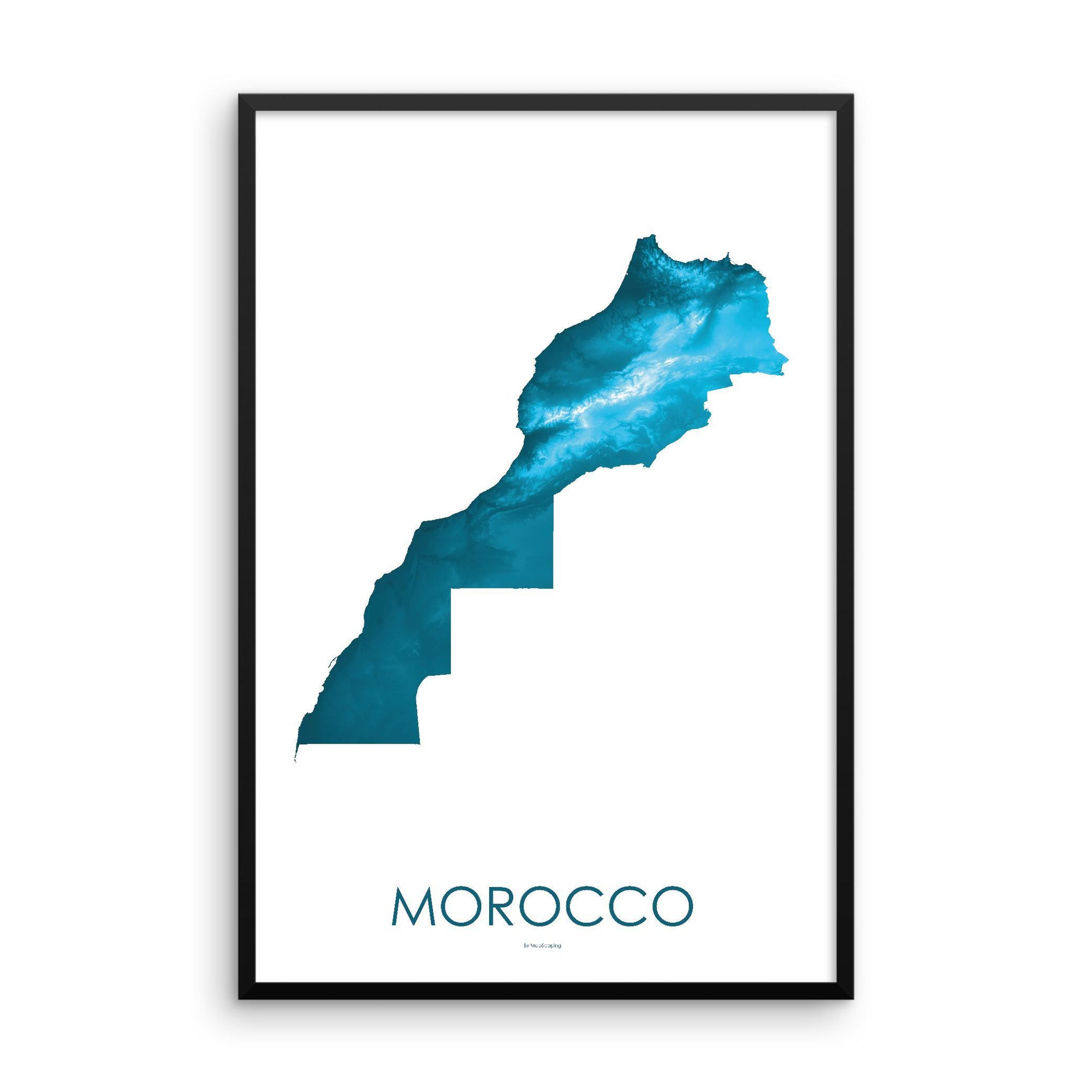 Morocco Poster Petroleum Blue-topographic wall art map by MapScaping