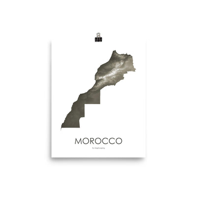 "Morocco Poster Slate-8""x10"" - 20.32cm x 25.4cm-topographic wall art map by MapScaping"