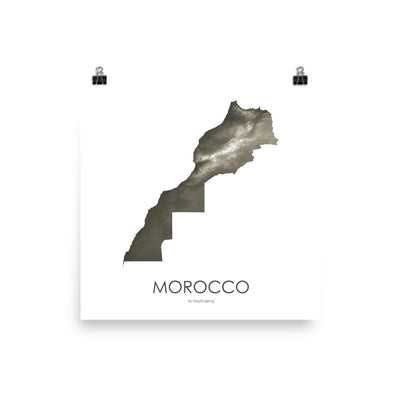 "Morocco Poster Slate-10""x10"" - 25.4cm x 25.4cm-topographic wall art map by MapScaping"