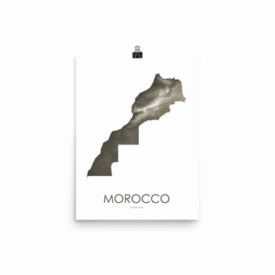 "Morocco Poster Slate-12""x16"" -30.48cm x 40.64cm-topographic wall art map by MapScaping"