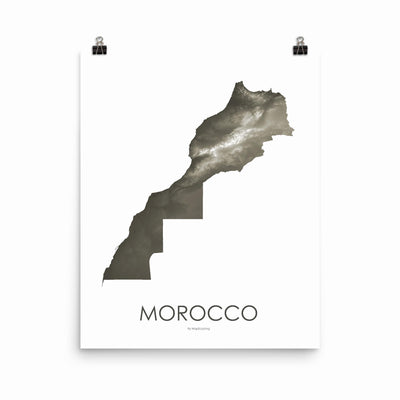 "Morocco Poster Slate-16""×20"" - 40.64cm x 50.8cm-topographic wall art map by MapScaping"