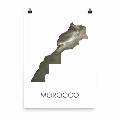 "Morocco Poster Slate-18""×24"" - 45.72cm x 60.96cm-topographic wall art map by MapScaping"