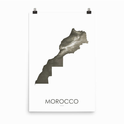 "Morocco Poster Slate-24""×36"" - 60.96cm x 91.44cm-topographic wall art map by MapScaping"