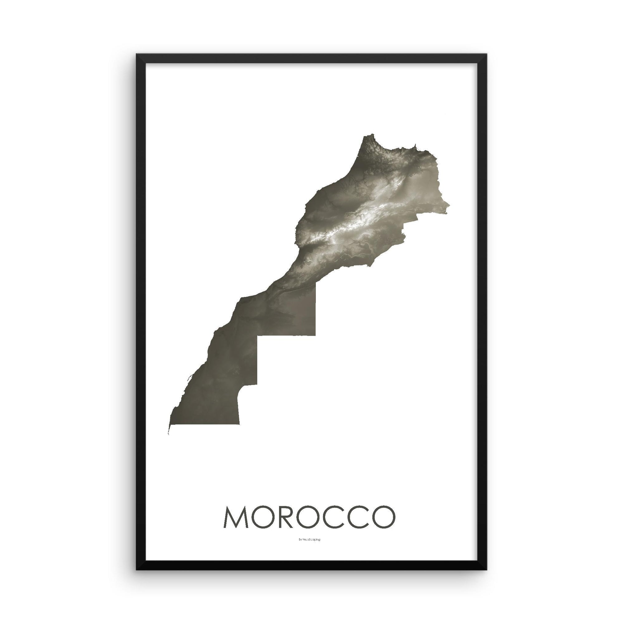 Morocco Poster Slate-topographic wall art map by MapScaping