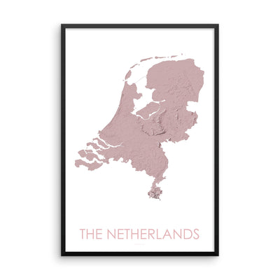 Netherlands Map 3D Rose-Topographic Map