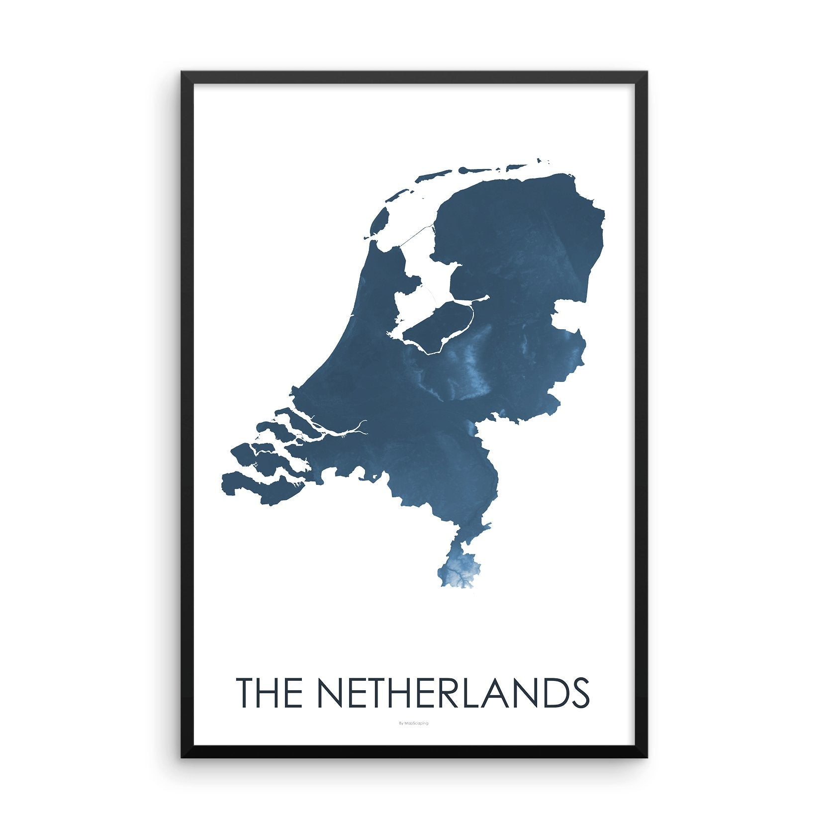 Netherlands Map Midnight Blue-Topographic Map