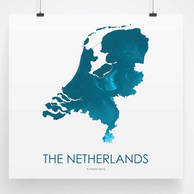 Netherlands Map Petroleum Blue-Topographic Map