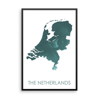 Netherlands Map Teal-Topographic Map