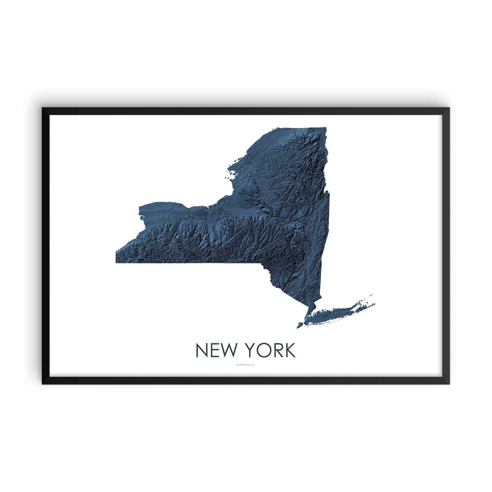 New York Map 3D Midnight Blue-Topographic Map