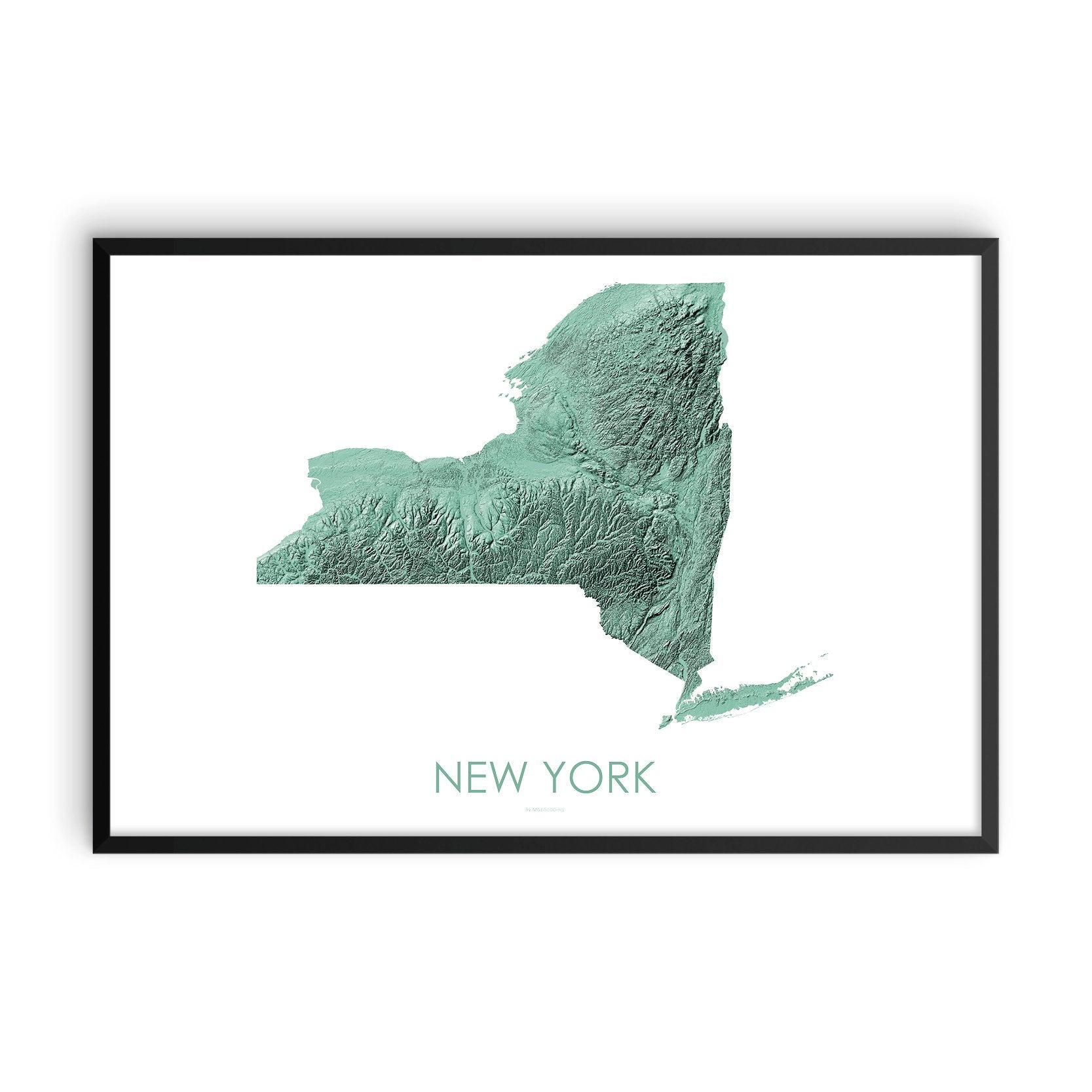 New York Map 3D Mint-Topographic Map