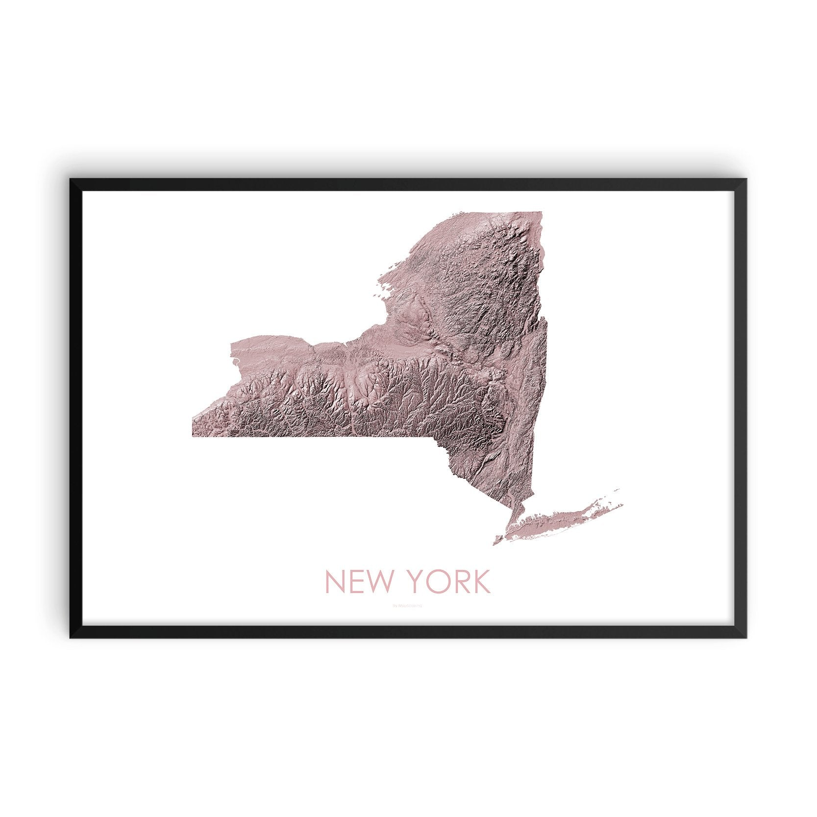 New York Map 3D Rose-Topographic Map