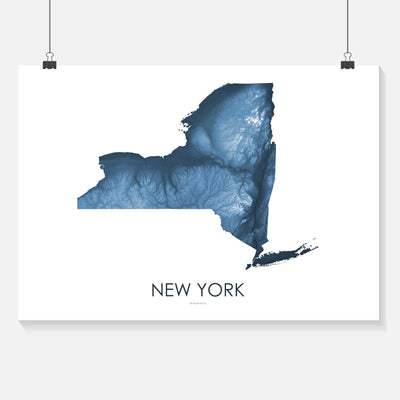 New York Map Midnight Blue-Topographic Map