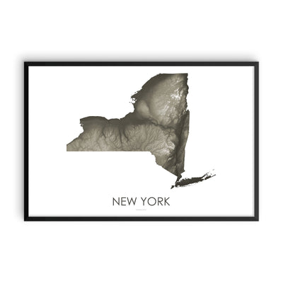 New York Map Slate-Topographic Map