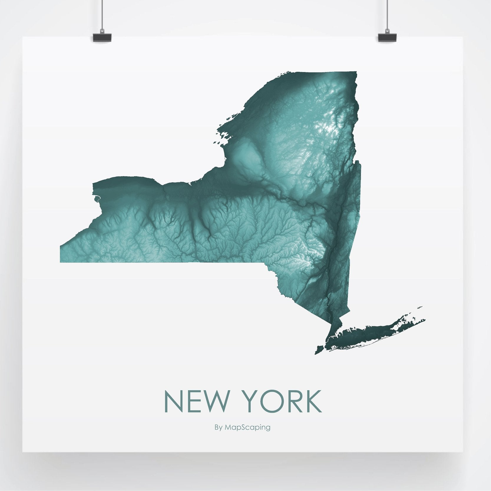 New York Topographic Wall Art Map Mapscaping Com
