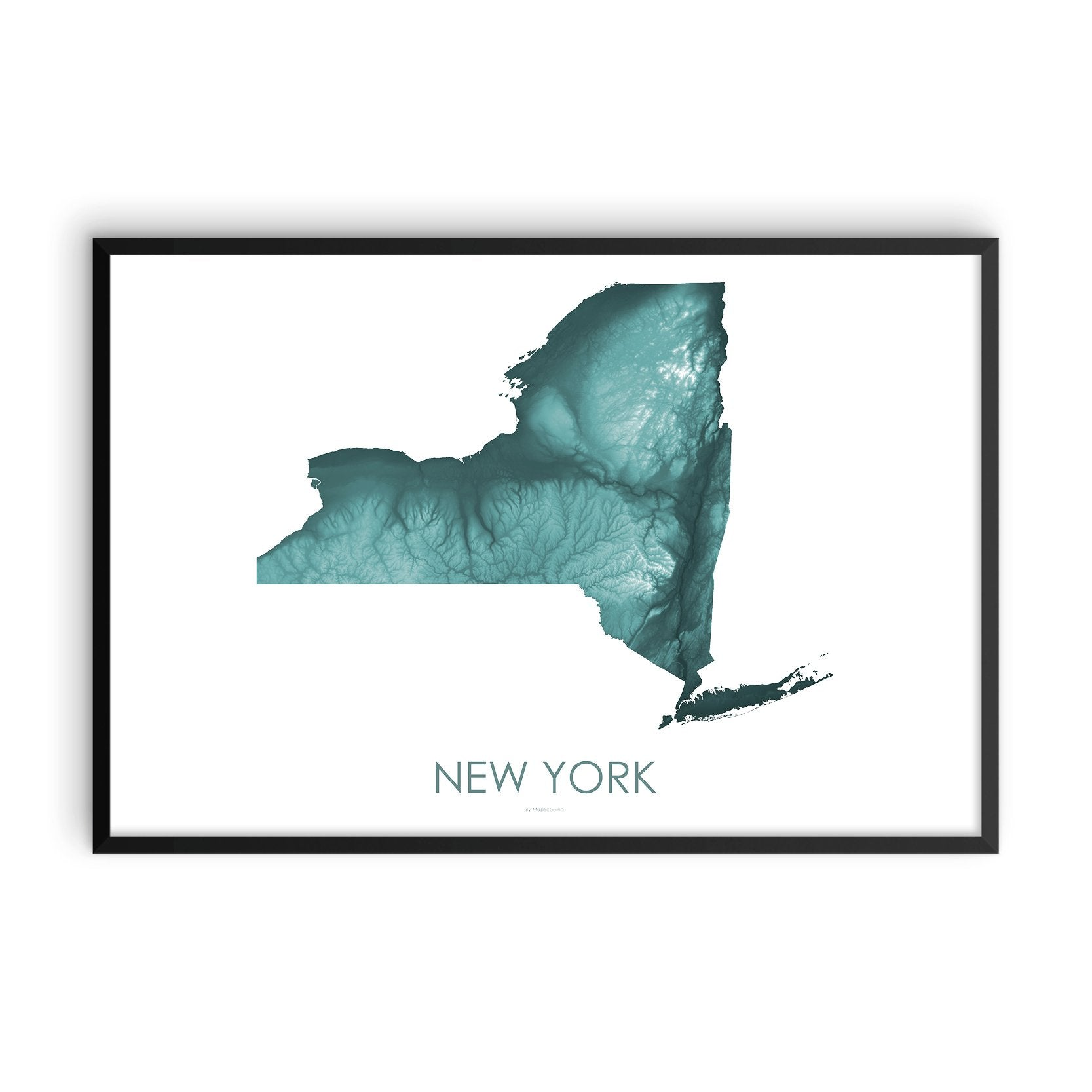 New York Map Teal-Topographic Map