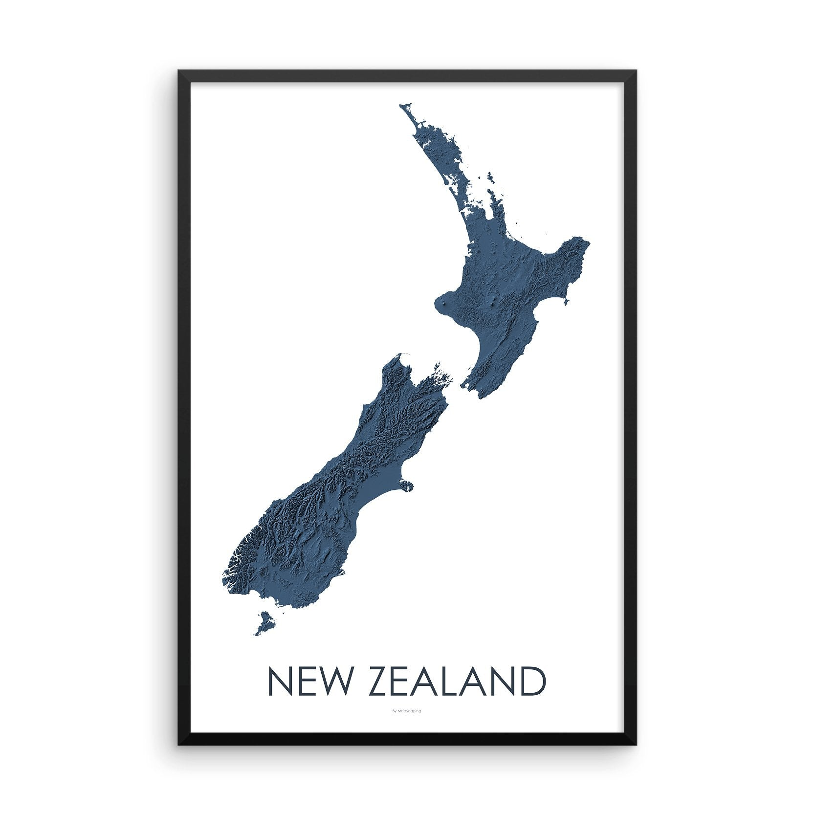 New Zealand Map 3D Midnight Blue-Topographic Map