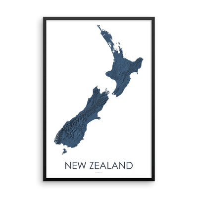 Framed dark blue poster map of New Zealand's North and South Islands, detailed map print showing the mountains of New Zealand's landscape.
