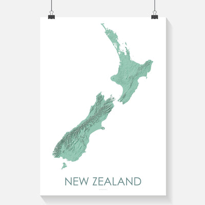 Detailed light green poster map of New Zealand showing the landscape, and topography in a modern map print. The 3D design highlights the landscape of New Zealand.