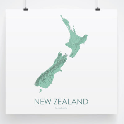 Detailed light green blue map print of New Zealand in blue. Poster map of New Zealand highlighting the topography of the landscape of the North Island and the South Island.