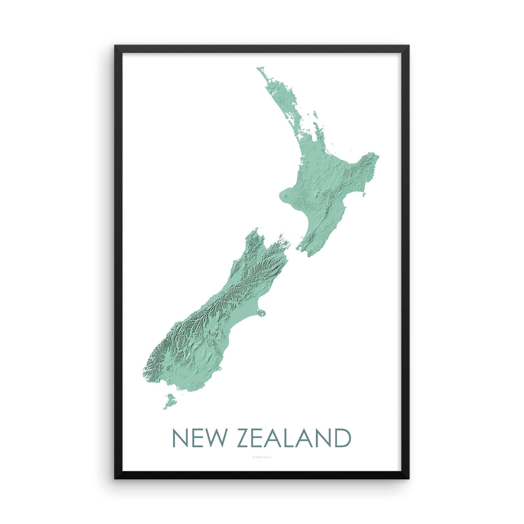 Framed light green poster map of New Zealand's North and South Islands, detailed map print showing the mountains of New Zealand's landscape.