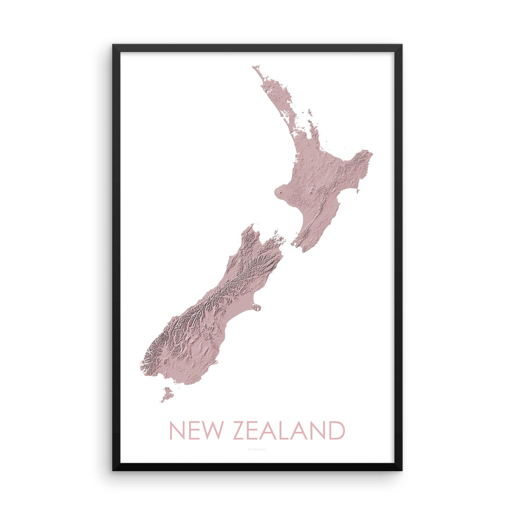 New Zealand Map 3D Rose-Topographic Map