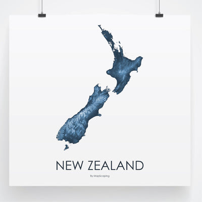 Detailed blue  map print of New Zealand in blue. Poster map of New Zealand highlighting the topography of the landscape of the North Island and the South Island.