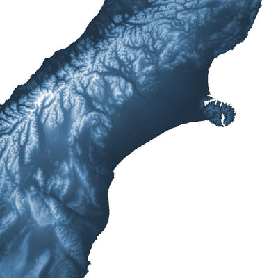 Close up of blue poster map of New Zealand showing the detail of the map of New Zealand. Wall art map of New Zealand