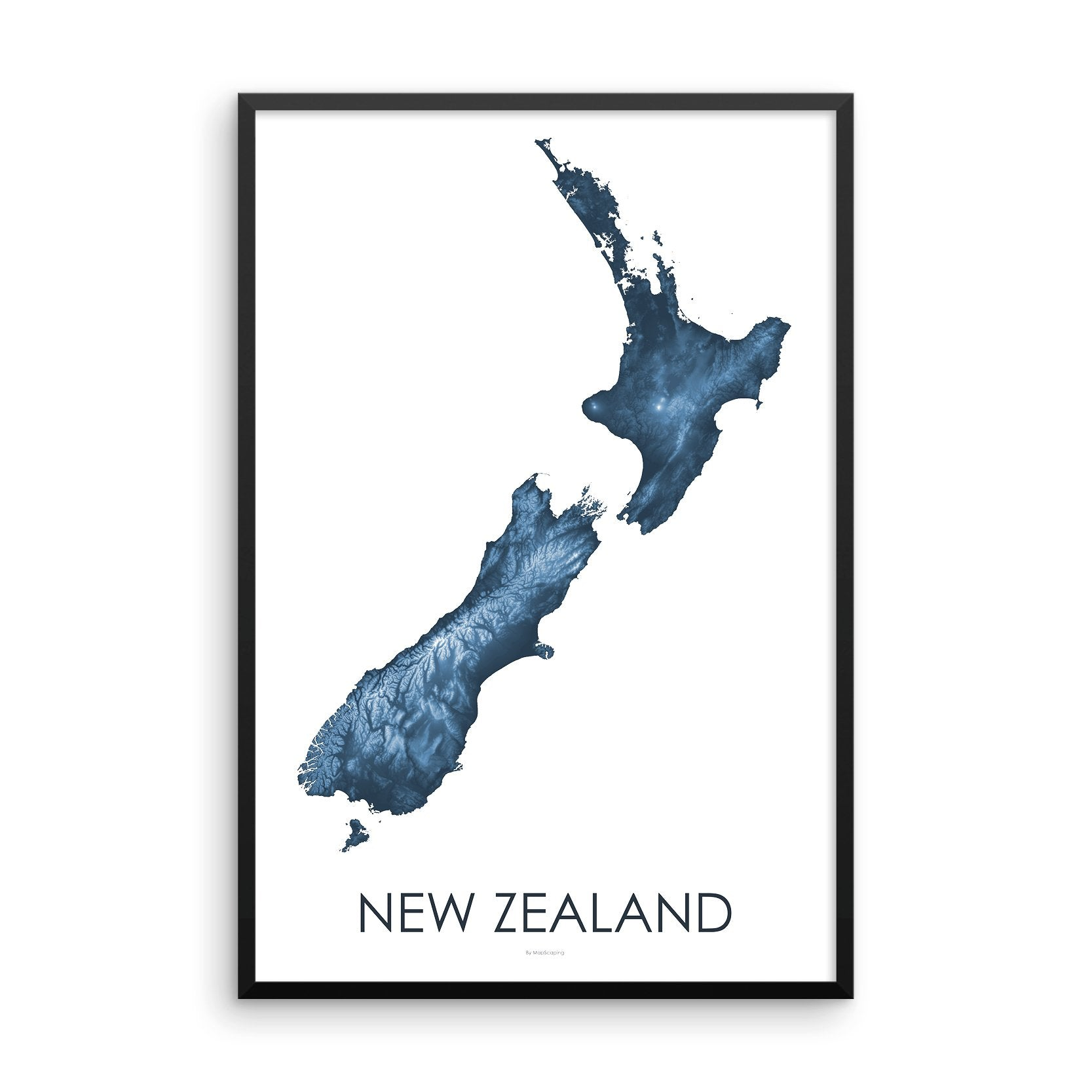 Framed blue poster map of New Zealand's North and South Islands, detailed map print showing the mountains of New Zealand's landscape.